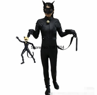 High Quality Child Miraculous Ladybug Adrien Costume Cat Noir With Mask Cosplay Costume With Costume Accessories