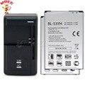 1LOT=1PC Universal Charger + 2PCS Original 3000mAh BL-53YH Battery For LG G3 D855 D850 D858 D859 D830 D851 F460 F400K/S/L VS985