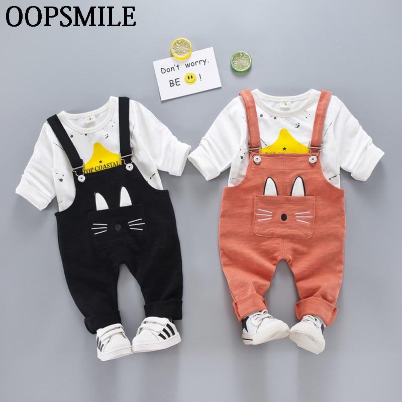 2017 Spring Autumn newborn Baby boys/Girls clothing cotton shirt+cartoon kitten Overalls Pants 2pcs Infant Casual Clothing
