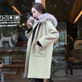 Big fur collar wool coat, long thick cocoon Korean hooded duffel coat size winter spring tide