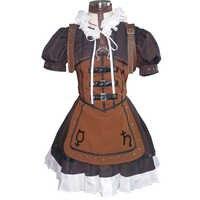 Brdwn Alice Madness Returns Alice cosplay Vapor das Mulheres Traje Vestido Lolita Saia Avental Meidofuku