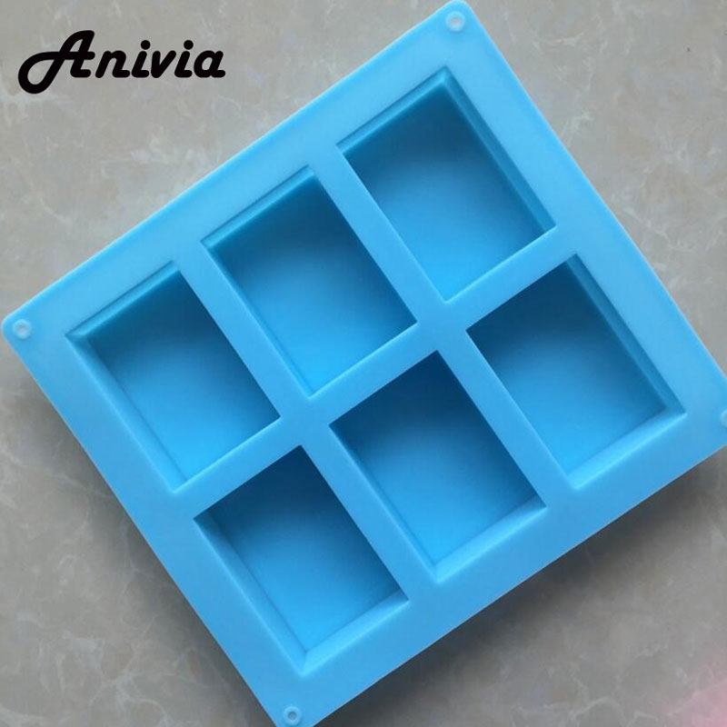 6-Cavity Plain Rectangle Soap Mold Mould for Homemade Craft Making Multi Color