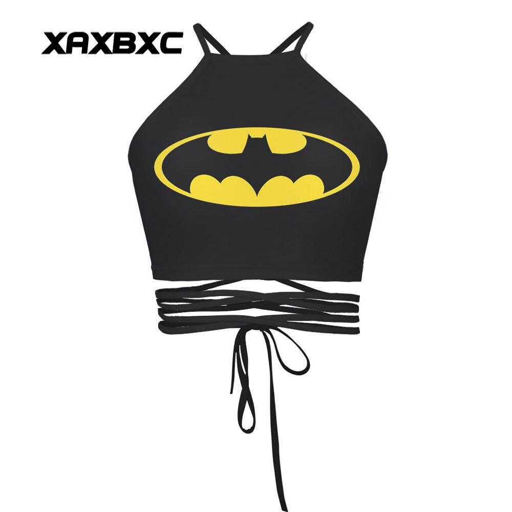 XAXBXC 008 Summer Sexy Girl Vest Tank Tops Comics Batman Superhero Prints Slim Fitness Cross Bandage Strap Women Cropped Tops