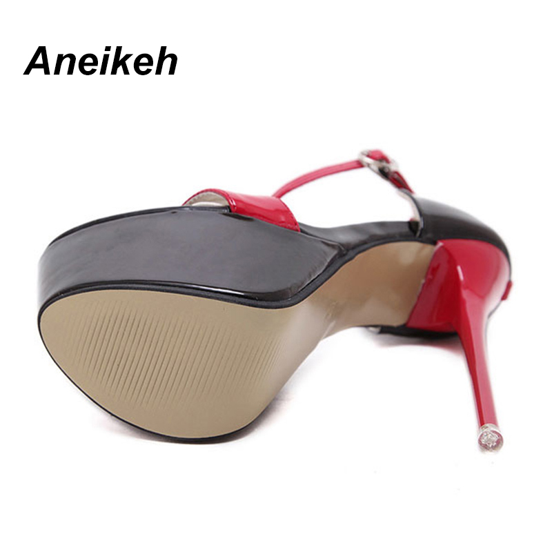 Aneikeh NEW 2018 Summer Sandals For Women Platform Shoes Style Sexy 16 CM  High Heels Open Toe Buckle Nightclub Shoes Black -in High Heels from Shoes  on ... 114c36442b5c