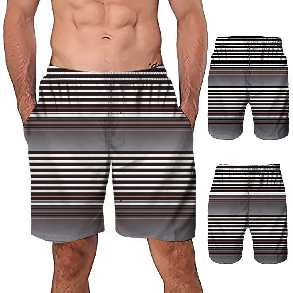 2019 Hot Mens   Shorts   Surf   Board     Shorts   Summer Sport Beach Homme Bermuda   Short   Pants Quick Dry Boardshorts Striped mens bathing