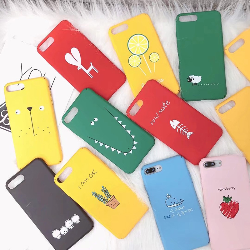 Luxury Fashion Cute For iPhone X 7 8 6 6S Case Fruit Animal Flower pattern Phone Cases Hard PC Back Cover For iPhone 6 7 8 Plus