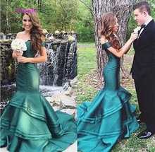 Off the Shoulder Long Mermaid Prom Dresses 2019 Two Pieces Sexy Bodice Ruffled Satin Formal Evening Gowns vestidos de festa New
