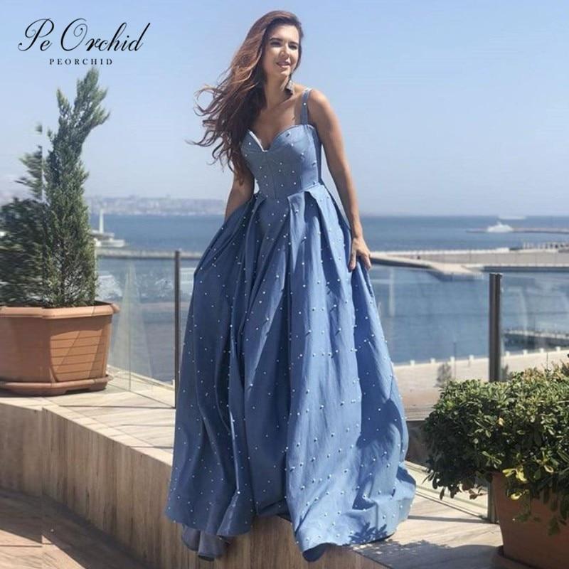 PEORCHI 2019 longues robes de bal bleues perles de luxe chérie étage longueur Satin robe formelle femmes élégant fête robes de bal