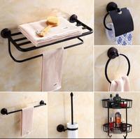 New Brass Bathroom Accessories Set Robe Hook Paper Holder Towel Bar Soap Basket Towel Rack Towel