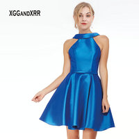 New Mikado Halter Neck short Homecoming Dress 2019 Strappy Open Back A line flared Skirt Navy Blue Prom Dress Satin Party Gowns