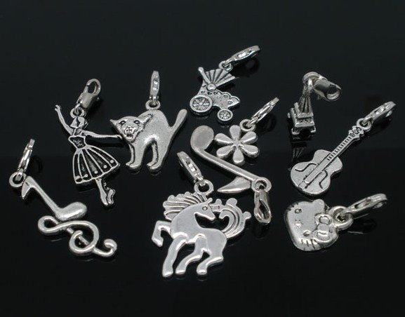 100pcs Mixed Silver Tone Clip On Charms. Fits Chain Bracelet