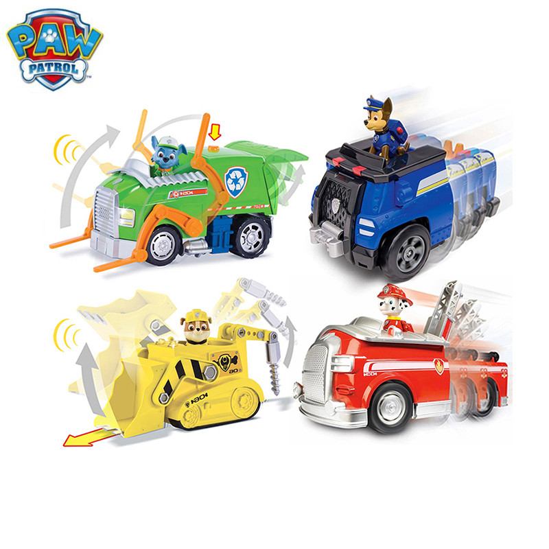 Paw Patrol Dog Puppy car Music and distortion Car Patrulla Canina Action Figures Puppy Patrol dog Toy Kids Children Toys Gift 48pcs lot action figures toy stikeez sucker kids silicon toys minifigures capsule children gift
