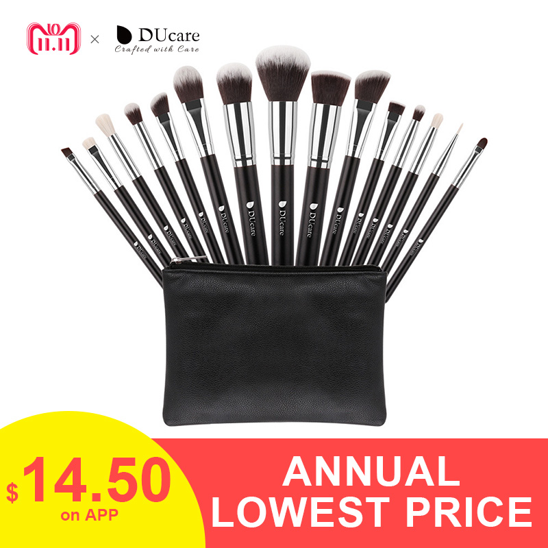 DUcare New 15 Pcs Makeup Brushes Set Professional Synthetic Hair Goat Hair Cosmetics Kit Make Up Brush with Bag Free Shipping free shipping by ems dhl 50 set lot new fiber hairy 32 pcs professional makeup brushes cosmetic set black leather bag