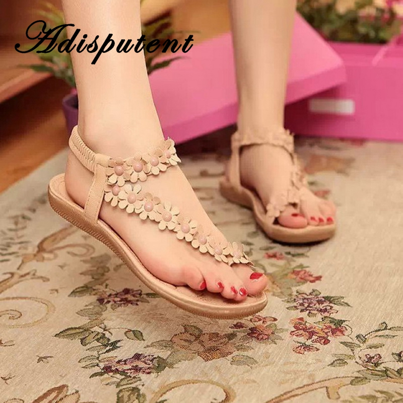 Adisputent Flower Sandals Beaded Flats-Toe Cross-Strap Bohemian-Toe Casual Women Torridity
