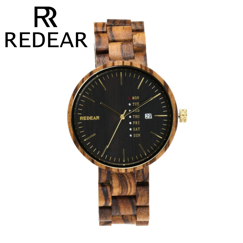 REDEAR Wooden Watches for Men Maple Wood and Red Sandalwood Watch with Calendar Wristwatches Men's Watch Quartz Watch bobo bird brand new sun glasses men square wood oversized zebra wood sunglasses women with wooden box oculos 2017