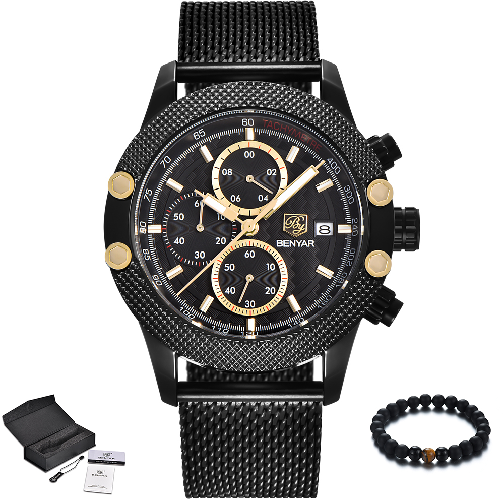 New BENYAR Top Brand Luxury Men Watch Quartz Waterproof Sport Watch Men Black Stainless Steel Mesh Band Military Wristwatch Mens 16pcs anti non slip with words in car stickers interior door cup gate slot mat pad groove mat for mazda cx 7 cx7 car styling