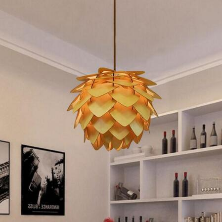 Modern Art Wooden Pinecone Pendant Lights Home Restaurant Hanging Wood Pendant Lamps Home Decorative Light Fixtures AC100-240V denmark antique pinecone ph artichoke oak wooden pineal modern creative handmade wood led hanging chandelier lamp lighting light