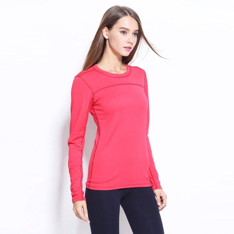 Plus size Feminina Esportes Respirável Quick Dry Manga Comprida camisas de T para Mulheres Yoga Execução de Fitness S-3XL