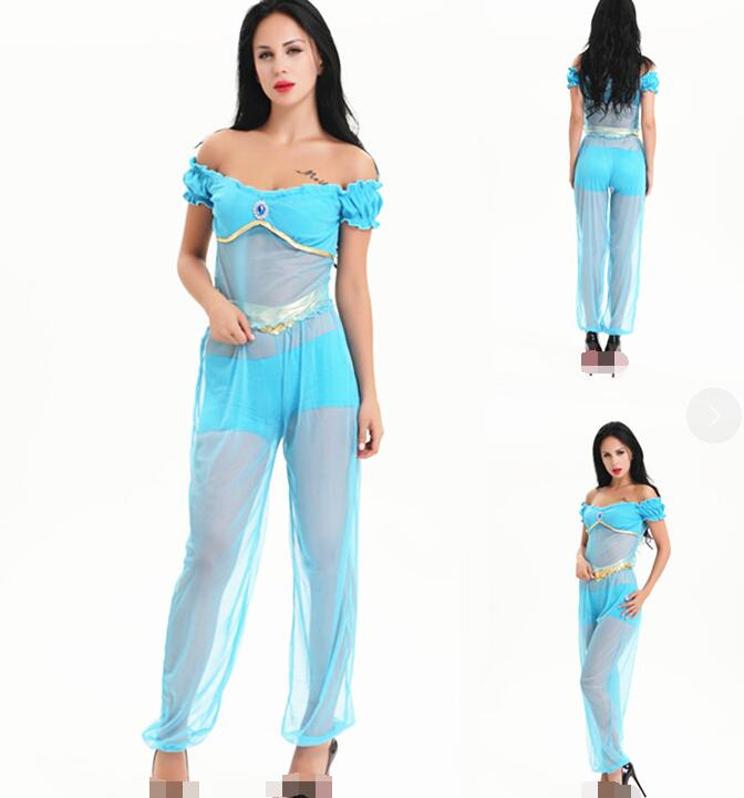 Adult Aladdin Jasmine Princess Cosplay Halloween Costume Party Belly Dress Pants  Aladdin Prince Cosplay Costume Male Clothes