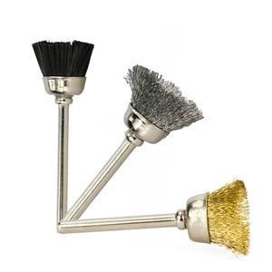 Image 3 - XCAN cepillo de rueda de pulido, 10 Uds., cepillo de alambre de vástago de 3,mm para herramientas rotativas Dremel, accesorios