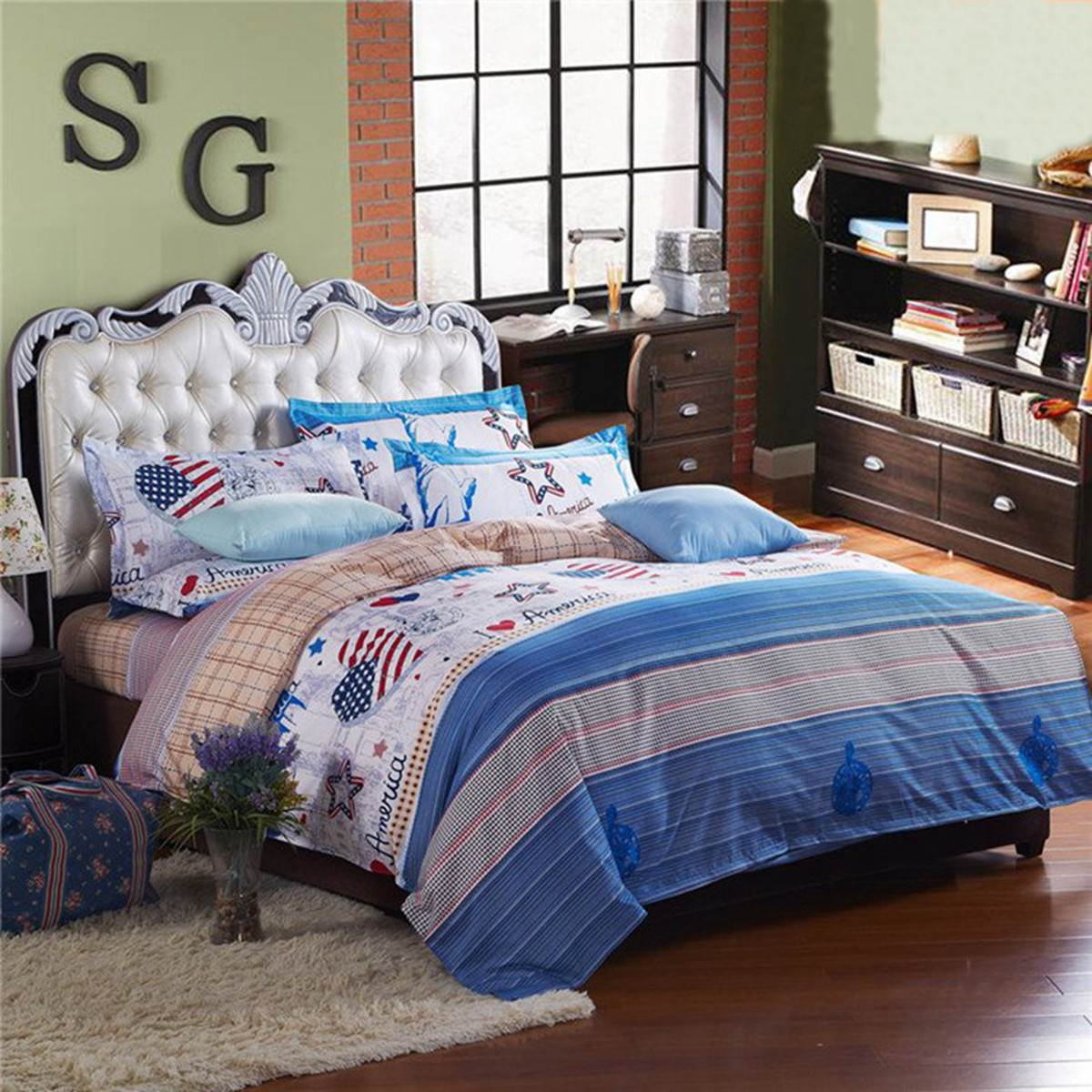 Bed sheet set with quilt - Fashion Usa Heart Printed Bedding Sets American Party Single Double King Size Polyester Quilt Duvet Cover Pillowcases Bed Sheet