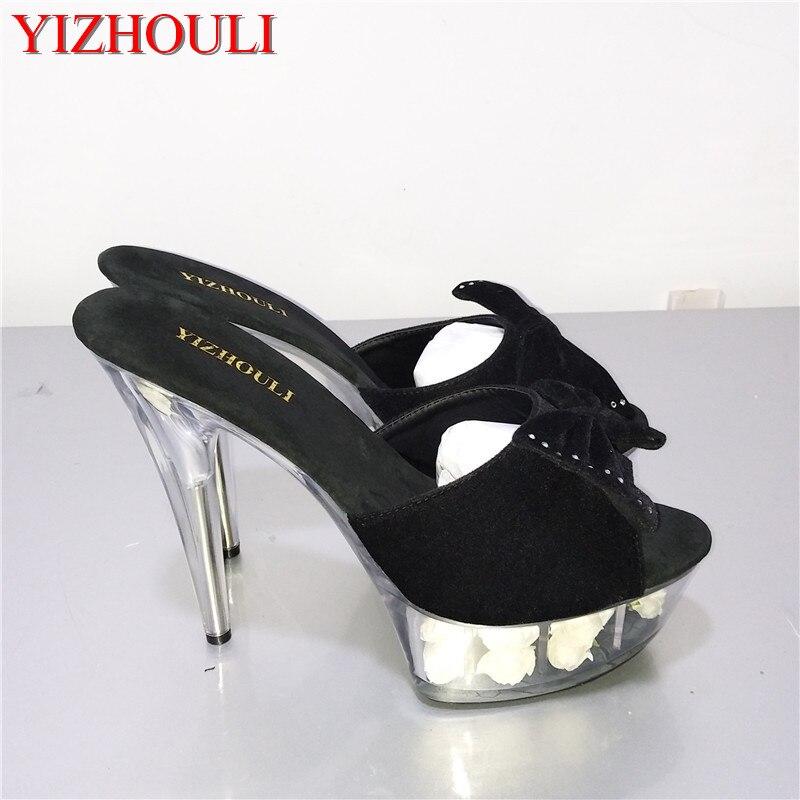 Brillant Pantoufles 15 CM Super Haute Talon Chaussures 6 Pouce Talon  Plate-Forme Sandale Avec Strass Daim Rose Floral Chaussures 3d1fb871342c