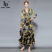 LD LINDA DELLA Spring Fashion Floral Maxi Dresses Womens Long Sleeve V-Neck Gorgeous Print Party Vintage Dress