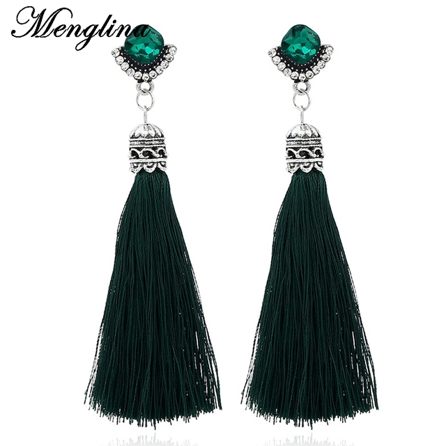 Menglina Fashion Green Crystal Long Tel Earrings Silk String Dangle For Women Oorbellen Hangers Boho