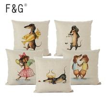 12 Zodiac Dachshund Dog Cushion Cover for Living Room Comic Cartoon Sausage Art Decorative Pillows Home Decor Pillow