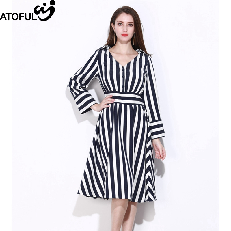 ATOFUL Women Dress Vintage Striped Patchwork 2018 Spring Causal Vestidos V Collar A-Line Business Elegant Lady Dress Plus Size