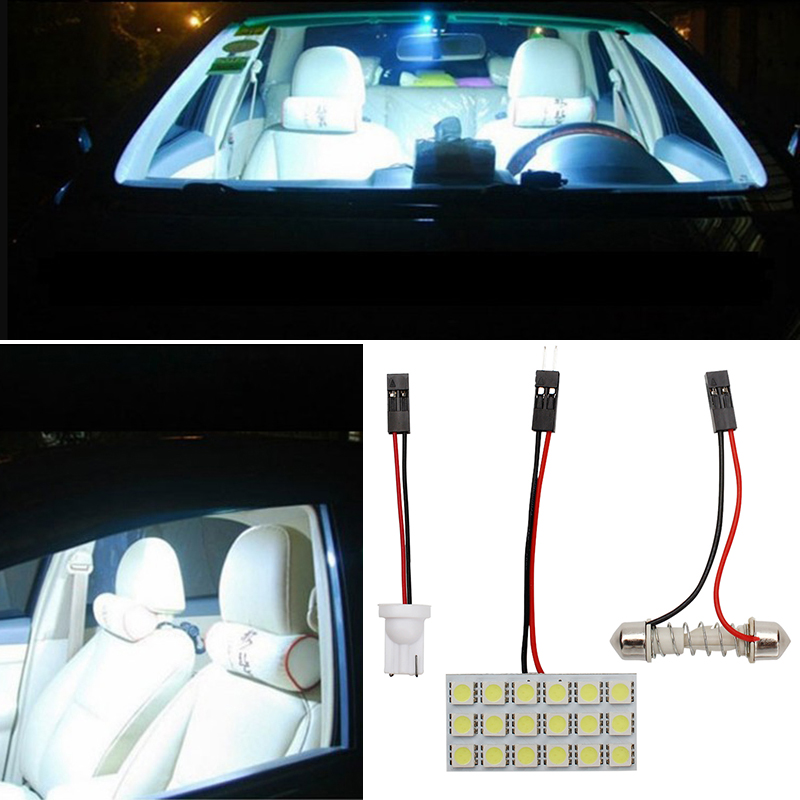 universal car led dome panel light 5050 18 smd adapters led white car auto reading lamp dc12v. Black Bedroom Furniture Sets. Home Design Ideas
