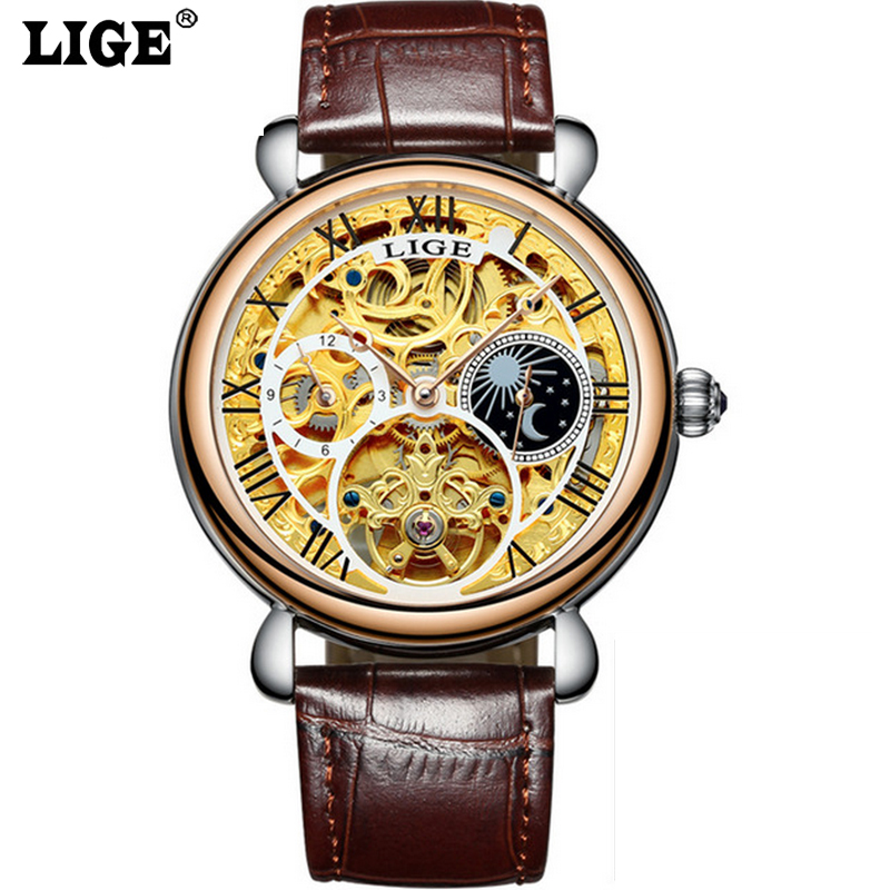 2017 Mens Watches Top Brand Luxury LIGE Automatic Mechanical Watch Man Fashion Business Leather Wristwatch relogio masculino