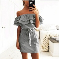 XINGUANGYA 2017 Summer Girls Bandage Striped Party Dress Sexy Cute Ruffles Shoulder Off Mini Dress Women