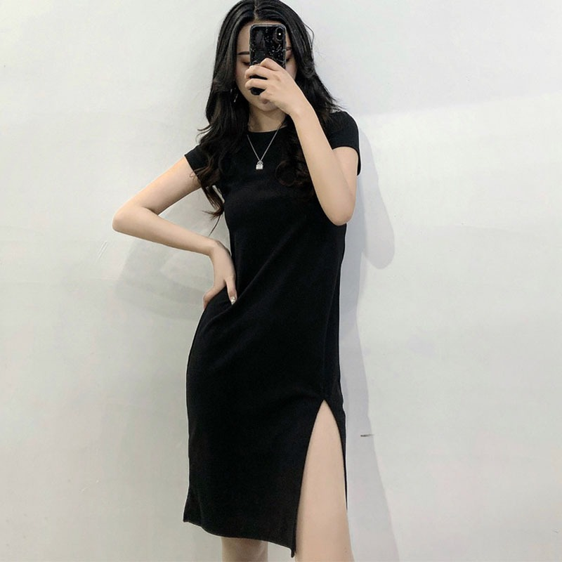 New Arrival!Women Dress Short Sleeve Slim Body con Dress Tunic Crew Neck Casual Pencil Black Tight Dress