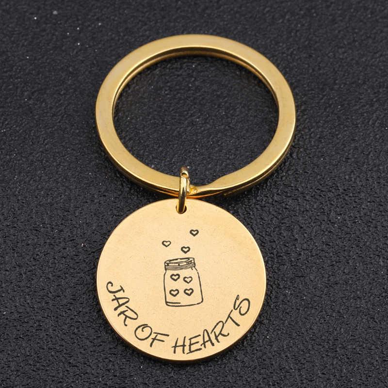 Đẹp Ít Chai Đầy Đủ Của Trái Tim Khắc Jar Của Trái Tim Keychain Phù Hợp Cho Tất Cả Mọi Người Món Quà Làm Cho MỘT Mong Muốn Vòng Chìa Khóa tag
