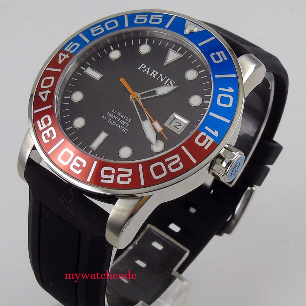 42mm Parnis black dial Sapphire glass 21 jewel Miyota automatic mens watch P393 42mm parnis silver dial sapphire glass 21 jewel miyota automatic mens watch p531
