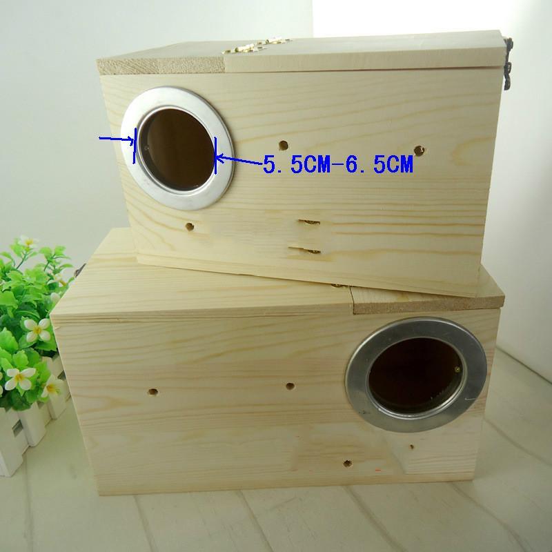 Livraison la plus gratuite Cage en bois oiseau perroquet maisons pigeon bébé nid nidification boîte tourtereaux fournitures animaux produits fournisseurs