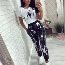 2019 New Women Casual Print Slim Stretch Pants Elastic High Waist Fitness Womens Gym Workout Trousers