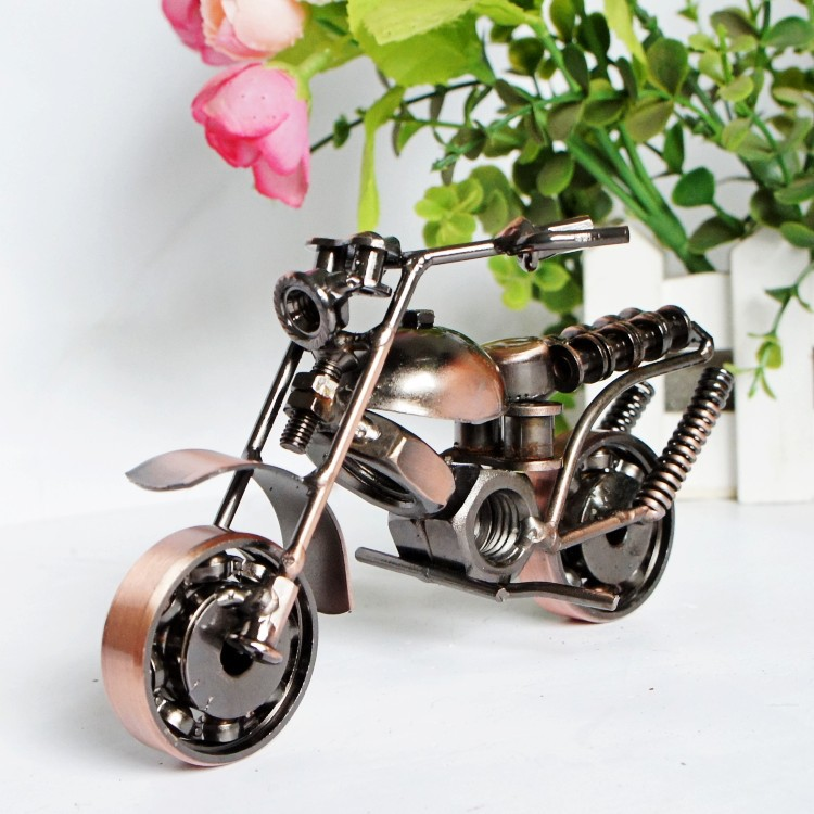 decoratio 14cm(5.5)Vintage Motorcycle Model Retro Figurine Iron Motorbike Prop Handmade Boy Gift Kid Toy Home Office Decor