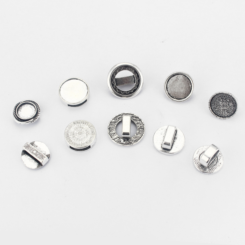 10pcs Slider Spacer Fit Flat Leather Cord ,Round Base Bezel Setting For Cameo DIY Jewelry Making Accessories