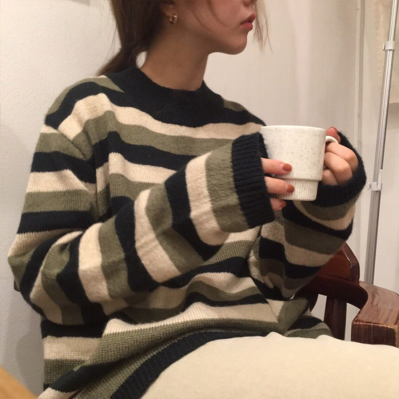 2 Colors 2017 Autumn And Winter Korean Chic Style O Neck Stripe Sweaters Womens Pullovers Womens (B0901)