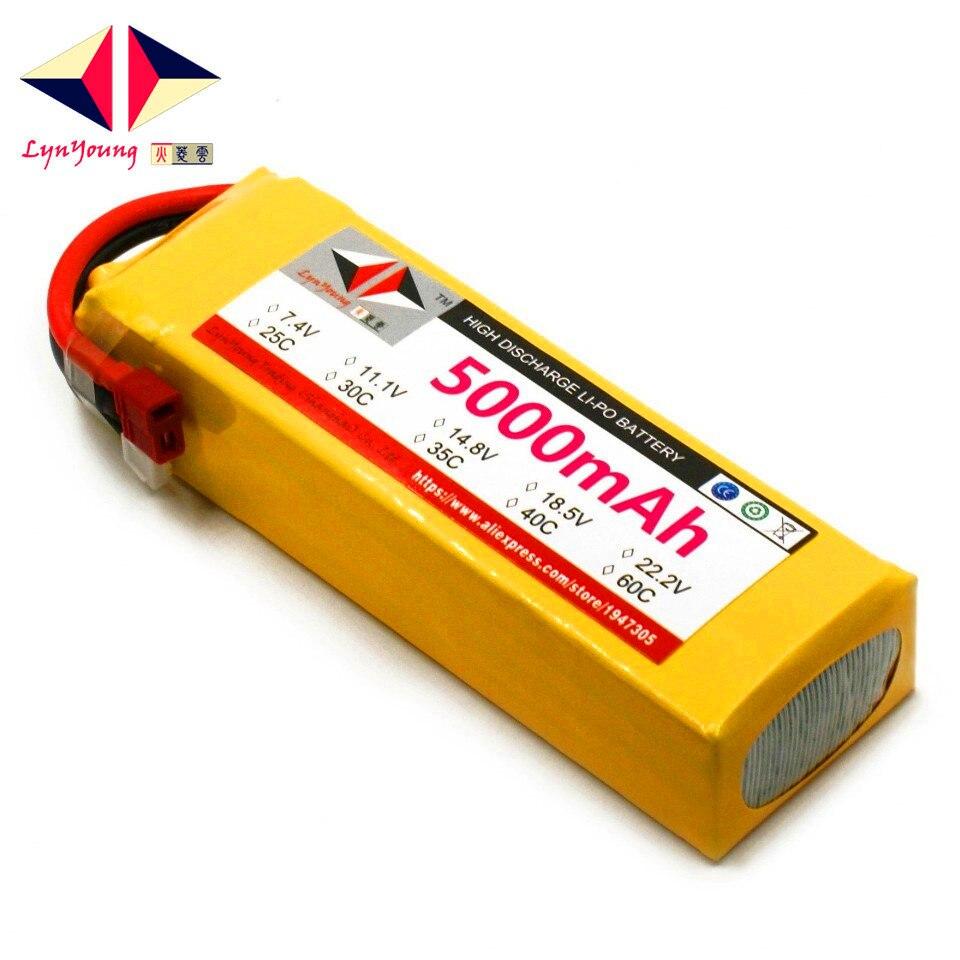 LYNYOUNG batterie LiPo 14.8 V 5000 mAh 4 S 60C max 120c pour hélicoptère quadrirotor drone bateau voiture