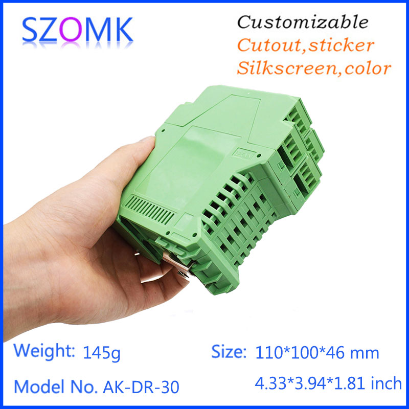 1 pc, szomk green plastic electronics enclosure plc din rail project box 110*100*46mm abs instrument enclosure junction box szomk electronic project enclosure junction box 1 pcs 260 220 80mm plastic box enclosure desktop electric distribution box
