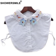 SHOWERSMILE Shirt Collar Removable Women Fashion Detachable Ladies White Embroidery Flower Sweet Sweaters Fake