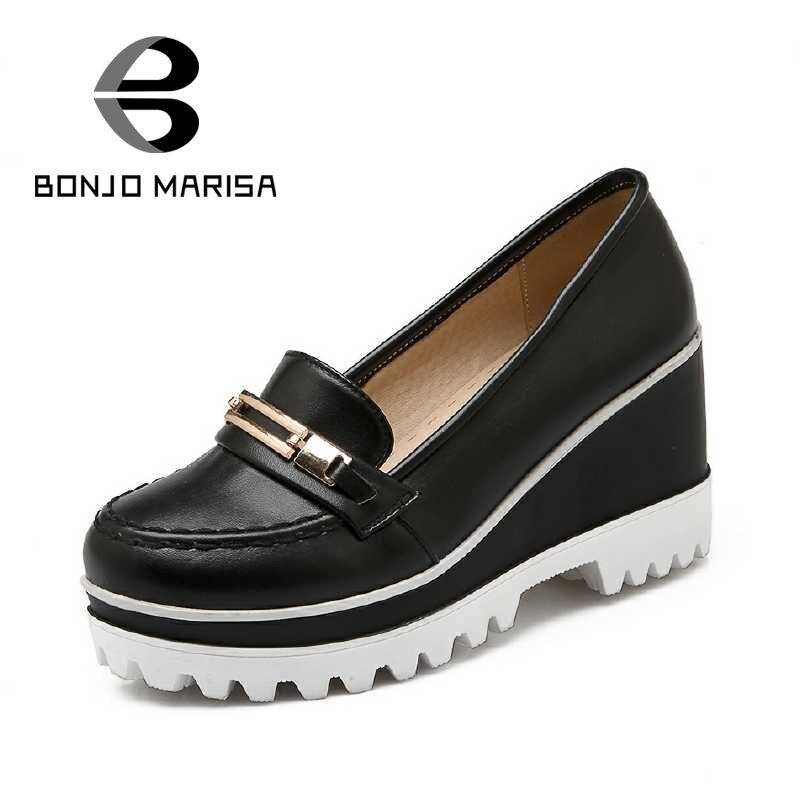 ФОТО Big Size 34-43 Women Pumps Brand New British Style Women Shoes Popular Round Toe Platform Wedges Ladies Pumps