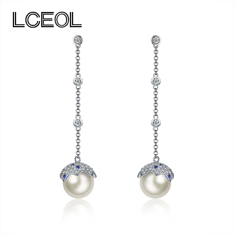 LCEOL Charm Design 58mm Chain with 3 Zircon Knots Drop Earrings for Women 2 Color Blue Zircon Pave Setting Pearl Pendant Earring