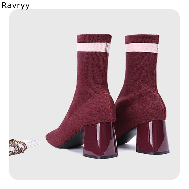 2018 Womans Ankle Boots Elastic Knitting Woolen Wine Red Female Short Boot Square Heel Pointed Toe Autumn Winter Fashion Shoes2018 Womans Ankle Boots Elastic Knitting Woolen Wine Red Female Short Boot Square Heel Pointed Toe Autumn Winter Fashion Shoes