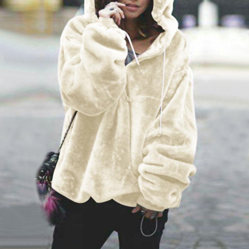 87993c33718 Autumn Winter Warm Velvet Hoodies Women Long sleeve Oversize Zipper  Drawstring Sweatshirt Moletom Tumblr Casual Pullover ey -in Hoodies    Sweatshirts from ...