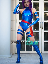 Free Shipping DHL 2017 Adult X Men Psylocke Elizabeth Betsy Braddock Costume Blue Shiny Metallic Halloween