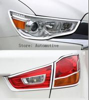 For Mitsubishi ASX Outlander Sport RVR 2011 2012 2013 2014 2015 Chrome Front Headlight + Rear Taillight Cover Trim Molding 2in1